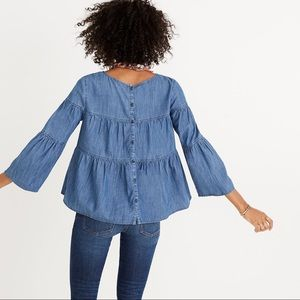 Madewell Denim Tiered Button Back Top